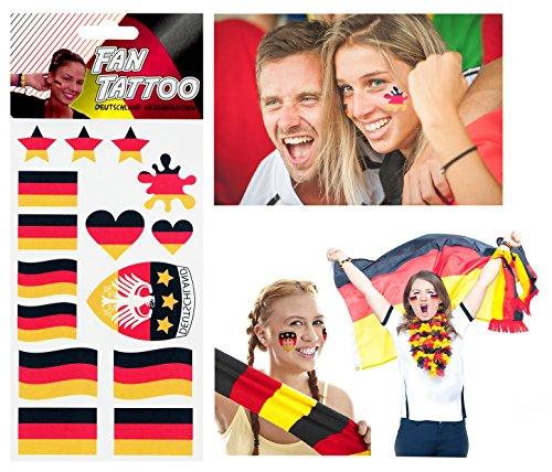 Fan Tattoo Sticker Stickers pour l'Allemagne, différents Designs, idéal pour Euro et Coupe du monde