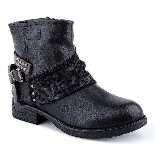 Damen Stiefeletten Stiefel Nieten Schnalle Reißverschluss Blockabsatz Muster Biker Boots Schuhe Schwarz