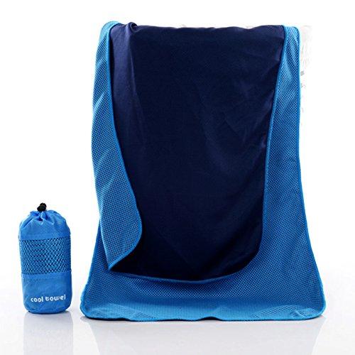 Tonver sport asciugamano, instant cool ice asciugamano in microfibra ad asciugatura rapida, ultra assorbente asciugamani di raffreddamento per sport, palestra, nuoto, sport, viaggi, campeggio, trekking, spiaggia, yoga, da bagno, 100*30cm blu blue 100*30cm