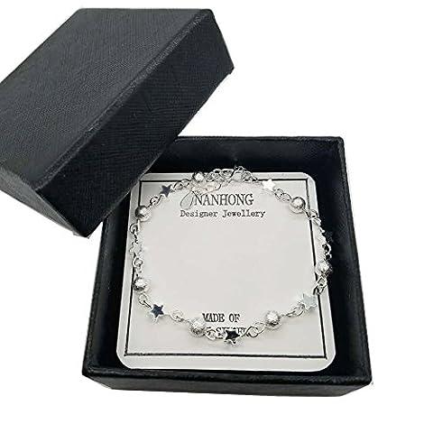 Nanhong Dainty Bijoux en perles Bracelet à breloques en argent