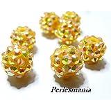Apprêt 10 perles shambala jaune 12 par 14mm