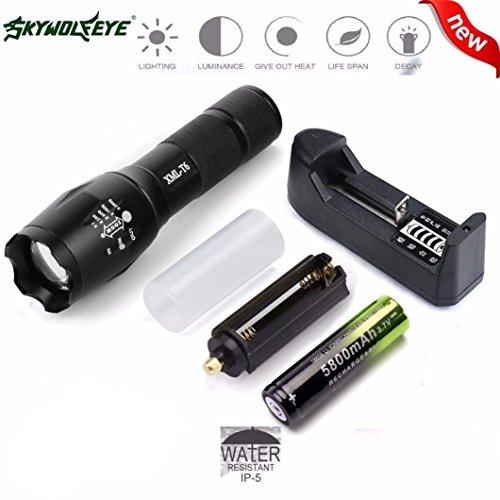 Internet 4000 Lumens G700 Tactical LED CREE XM-L T6 lampe de poche X800 Zoom Super Bright militaire de grade étanche titulaire Torche 5 Modes+batterie 18650+Chargeur simple+Support de piles AAA