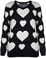 Womens Ladies Heart Print Long Sleeves Sweater Knitted Long Pullover Jumper Top