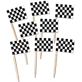 Black and White Racing Flag Party Picks - Pack of 50