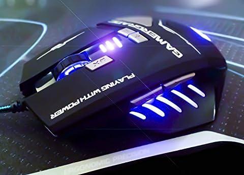 gamergrade® Pulse Extreme Pro Gaming Souris Haute Précision–Entièrement Macro programmable, boutons tactiles 8, 8couleur LED Options (massif, la respiration et Néon Modes), de finition avec revêtement en caoutchouc mat, plusieurs niveaux (4-stage) commutable DPI, design Gamer Concentré professionnel–Conçu pour les joueurs