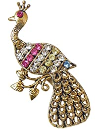 DollsofIndia Faux Zirconia & Ruby Studded Metal Peacock Brooch -Length -2.25 In. - White