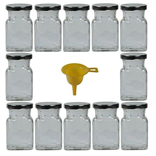 Viva Haushaltswaren #31421# 12 x Gewürzgläser / Marmeladengläser 150 ml mit silberfarbenem Verschluss, eckige Twist off Gläser als Einmachgläser, Glasdosen & Vorratsdosen verwendbar (inkl. Einfülltrichter)