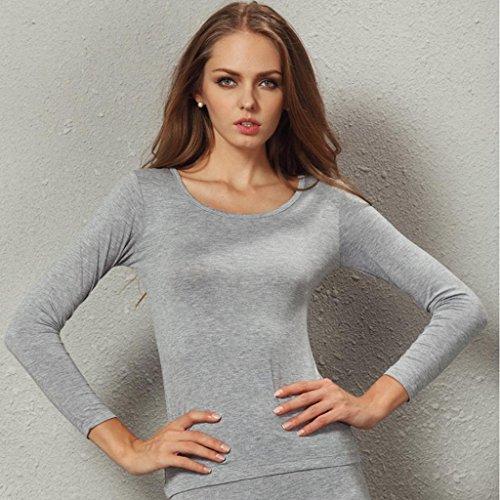 Liang Rou Damen Basic U-Außchnitt Stretch Langarm Unterwäsche Oberteile 1 Piece Grau