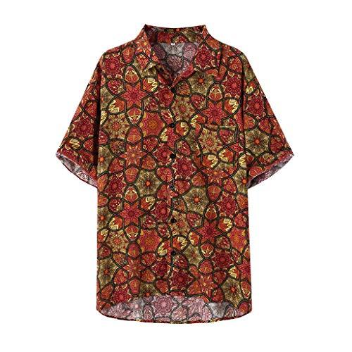 Herren Aloha Camp-shirt (Hawaiihemd Strandhemd Herren Kurzarmhemd Blumenklassischer Hemddruck Lässige reguläre Passform Casual Aloha Hawaiihemd (XL, Red))