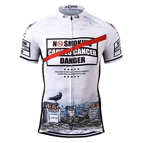 Thriller Rider Sports® Herren No Smoking Sport & Freizeit MTB Fahrradbekleidung Radtrikot (Lustige Tombstone)