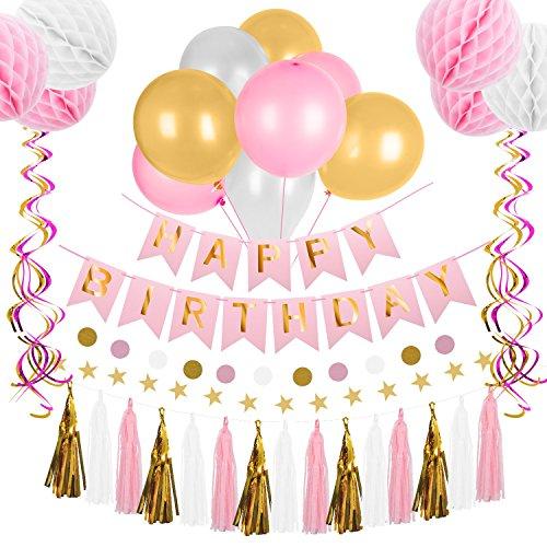 Hotchy Deko Geburtstag, Geburtstagsdeko Sets, Kindergeburtstagsdeko 66 Teile mit 6 Wabenbälle, 30 große Perlenballons, 12 Spiralornamente, 15 Quasten