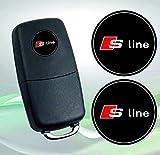 Audi S-Line Emblem Logo Schlüssel Fernbedienung Set Satz 14mm - 2Stück