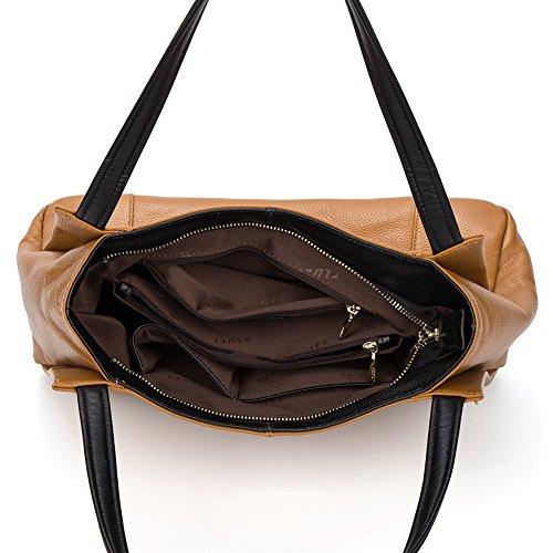 CLUCI Vera Pelle Borsa Donna Sacchetta Tote a Mano Spalla Top-Handle Leather Bag Designer 13-Marrone chiaro
