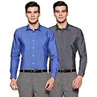 Amazon Brand - Symbol Men's Solid Regular Fit Full Sleeve Formal Shirt (Combo Pack of 2) (SS18-SMFS-211_Black / Royal_40)