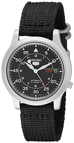 seiko-5-mens-automatic-watch-with-black-dial-analogue-display-and-black-fabric-strap-snk809k2