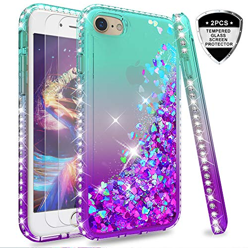 LeYi Hülle iPhone 7 / iPhone 8 Glitzer Handyhülle mit Panzerglas Schutzfolie(2 Stück),Cover Diamond Bumper Schutzhülle für Case iPhone 7 / iPhone 8 Handy Hüllen ZX Gradient Turquoise Purple -