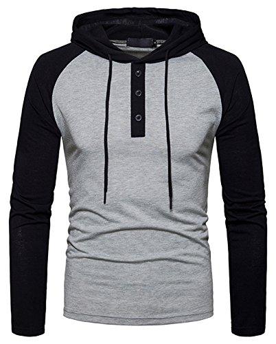 Whatlees Herren Urban Basic reguläre Passform lang arm Langes T-shirt mit Kapuzer aus weiches Jersey B923-LightGray