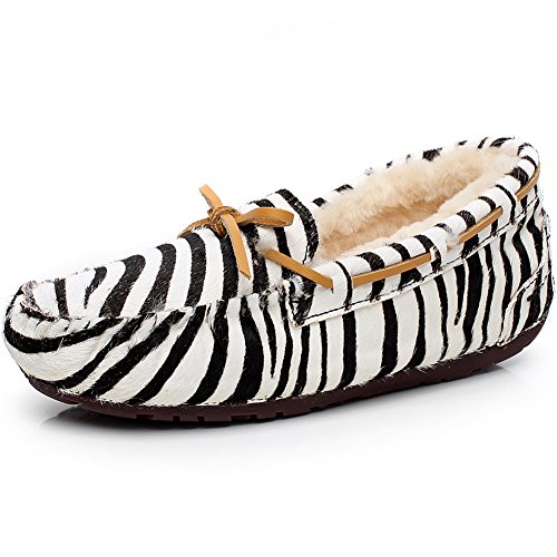 Rismart Damen High-End Wolle Fell Gefüttert Weich Wildleder Mokassins Winter Warm Innenbereich Slipper Halbschuhe S1017 Zebra