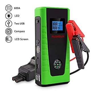 PUSHIDUN Car Jump Starter Battery Booster 12000mAh 600A Car Starter Jumper for (5.0L Petrol and 2.0L Diesel) with 4 LED Light Modes, LCD Screen, and Compass