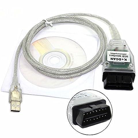 BMW INPA K + Peut avec Série-usb Puce USB Modifiés de voiture OBD2OBDII Interface USB scanner de diagnostic par Royaltec (pilotes inclus)