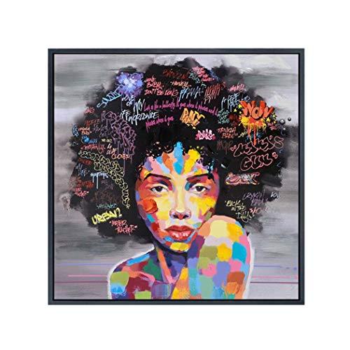 Iiloens Art - Lienzo para Mujer Africana con Acuarela, Listo para Colgar para Decorar el hogar, decoración de la Pared, Impresiones Sobre Lienzo, Tipo 1, Small