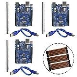 KeeYees 3 Set UNO R3 ATmega328P CH340 Microcontroller Entwicklungsboard Kompatibel mit Arduino UNO R3 IDE mit USB-Kabel sowie 2.54mm Stiftleiste + 3pcs 20cm Jumper Wire Drahtbrücken Weiblich Männlich