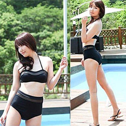 THENICE da donna, vita alta, Sexy Bikini Nero