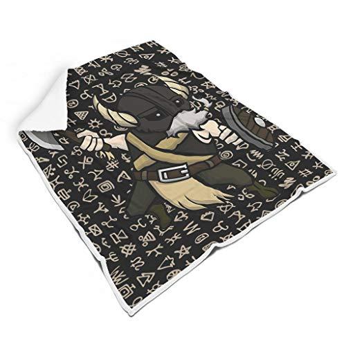 kikomia Anime Wikinger Krieger Maskottchen Coole Wikinger Ritter Axt Schild Grafik Druck Leicht Flauschig Decke Tragbar Haus Dekor Werfen Camping Erwachsene&Kinder White 130x150cm