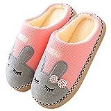 FANTURE Winter Baumwolle Pantoffeln Plüsch Wärme Weiche Hausschuhe Kuschelige Home Rutschfeste Slippers mit Cartoon für Herren Damen WZD007-pink-38/39