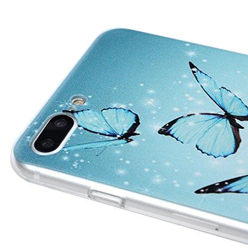 iphone 7 Plus Case,Badalink iphone 7 Plus Hülle Schutzhülle Bunt PC Cover Handyhülle Hardcase Schale Katzen küssen Fisch Muster Volle Kante Transparente Hülle Schmetterling