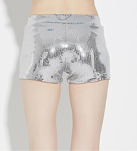 Tiny Time Damen Sequin Shine Glitter Shorts Paillette verschönert Party Kurze Hose Silber