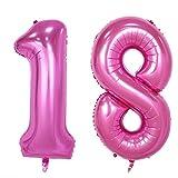 NUOLUX zahl luftballon 18, Geburtstag luftballons, Nummer Foil Ballons,40-Zoll (Pink)