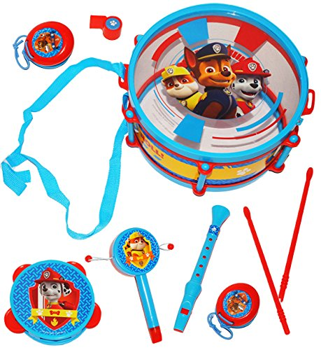 alles-meine.de GmbH 9 TLG. Set: Musikinstrumente -  Paw Patrol  - Trommel + Kinderflöte + Tamburin + Kastagnetten - aus Kunststoff für Kinder - Instrument - Kindertrommel - Mar..