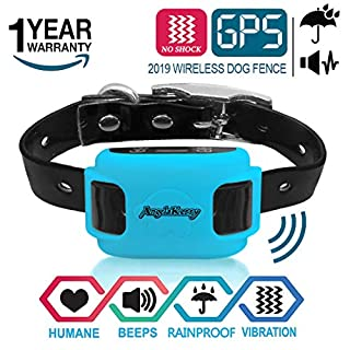 AngelaKerry GPS Outdoor Pet Containment System, Rechargeable Waterproof Beep Vibration Receiver, 800 Meters Control, for 15lbs-120lbs Dogs (Blue)