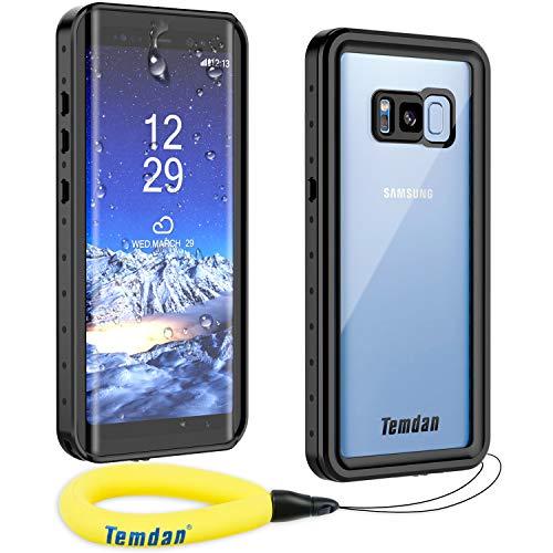 Temdan Kompatibel mit Samsung Galaxy S8 Hülle, Wasserdicht Stoßfest Transparent 360 Rundumschutz mit Eingebautem Displayschutz TPU Bumper Handyhülle für Samsung Galaxy S8 (5,8 Zoll) (Schwarz)