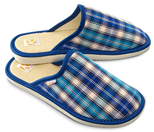 Bosaco Damen Hausschuhe Kariert Blau 2
