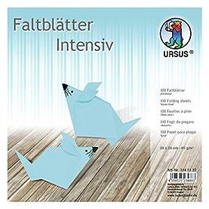 Ursus 3145132 - Hojas Plegables (100 Unidades, 65 g/m², 20 x 20 cm, para Artistas de Origami, teñidas), Color Azul