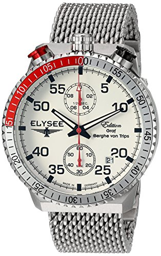 ELYSEE Men's 44mm Steel Bracelet & Case Anti Reflective Sapphire Quartz White Dial Analog Watch 80516M