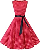 bbonlinedress 50s Retro Schwingen Vintage Rockabilly Kleid Faltenrock Red Small White Dot 3XL