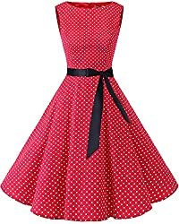 Bbonlinedress 50s Retro Schwingen Vintage Rockabilly Kleid Cocktail Faltenrock Red Small White Dot M