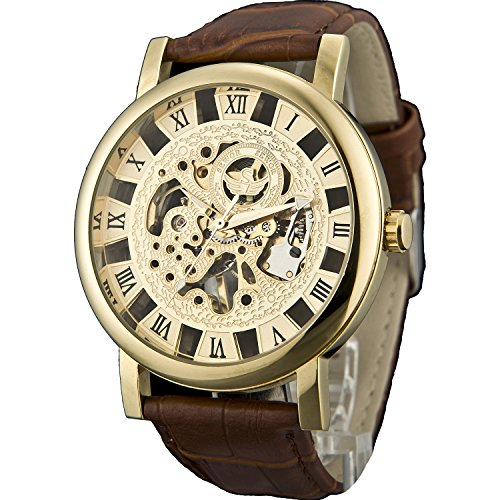 Sewor Men's Mechanical Hand-Wind Wrist Watch with Roman Numeral Display (Gold)