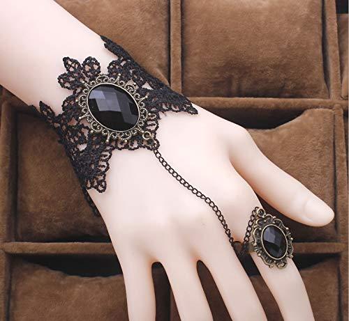 Hwiionne Retro- Frauen-Dame Girls Lace Chain Armband-Armband mit Ring und Schmucksache-Schmucksachen für Kostüm Bal-Fantasie-Ball-Maskerade