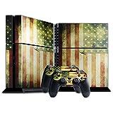 Flagge USA 6, Weltkarte, Designfolie Sticker Skin Aufkleber Schutzfolie mit Farbenfrohem Design für Playstation 4 CUH 1200