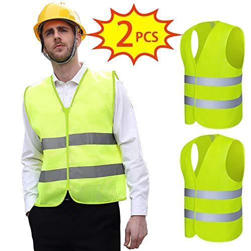 SunTop 2 Stück Warnwesten Auto Pannenweste Warnweste Neon Gelb Knitterfrei| Waschbar, 360 Grad Reflektierende Sicherheitsweste