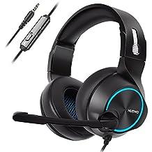 NUBWO Gaming PS4 Casco, N11 Xbox One Estéreo Micrófono con Cancelación del Ruido, Audífonos con Control de Volumen Interruptor Mudo para PC/MAC/PS4/Xbox 1— Azul