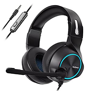 NUBWO Gaming Headset PS4, N11 Xbox One Stereo Wired PC Gaming Headphone mit Rauschunterdrückungsmikrofon, Over-Ear Kopfhörer mit Mute Kontrol für PC, Mac, Playstation 4, Xbox 1 Game- Red