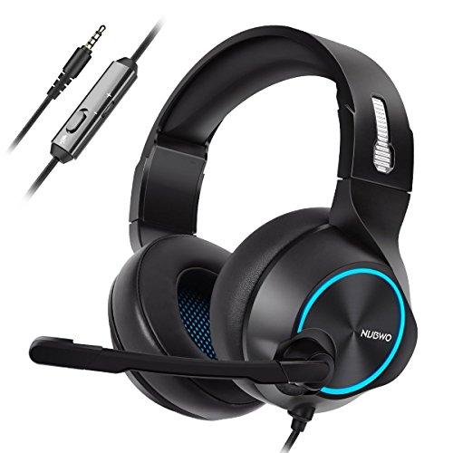 Preisvergleich Produktbild NUBWO PS4 Xbox One Headset Stereo Wired Game Headset mit Rauschunterdrückung Mikrofon,  Over-Ear-Kopfhörer mit Lautstärke- und Stummschaltung,  für Mac / Playstation 4 / Xbox 1,  Blau