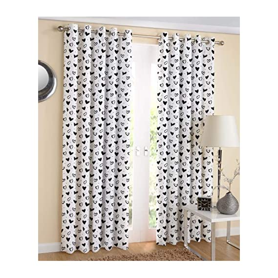 Airwill, 100% Cotton Designer Printed 7ft Door Curtains, (Black &White Colors) Pack of 2 pcs