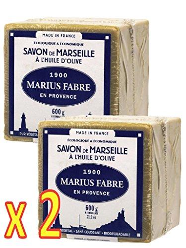 Jabón de Marsella a ACEITE DE OLIVA Cubo 600g Marius Fabre - Conjunto de 2 cubos 600g