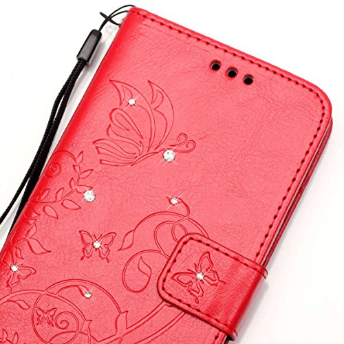 iPhone 7 Hülle,iPhone 7 Hülle Leder,iPhone 7 4.7 Zoll Schwarz Leder Handy Tasche Wallet Case Flip Cover Etui für iPhone 7 2016,EMAXELERS iPhone 7 Case Leder Elegant Bunte Schmetterling Muster Schutzhü Diamond Butterfly 1